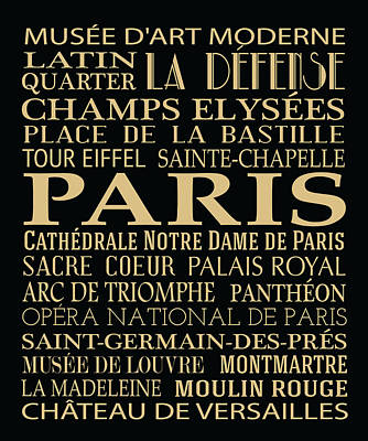 Paris Attractions Poster by Jaime Friedman