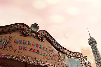 Paris Eiffel Tower And Carousel Merry Go Round - Paris Carousels Champ Des Mars Eiffel Tower Poster by Kathy Fornal