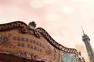 Paris Eiffel Tower And Carousel Merry Go Round - Paris Carousels Champ Des Mars Eiffel Tower Poster