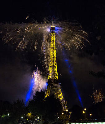 Paris - July Famous Fireworks Near Eiffel Tower During Celeb Poster