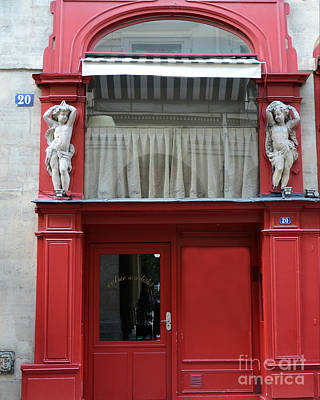 Paris Red Door Photography - Paris Red Cafe - Red And White Architecture Art Nouveau Art Deco Poster by Kathy Fornal