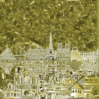 Paris Skyline Abstract  Poster