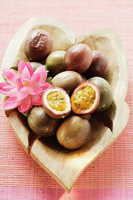 Passion Fruits (purple Granadilla) In Wooden Bowl Poster