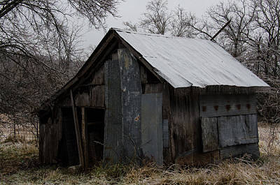 Patchwork Barn With Icicles Poster