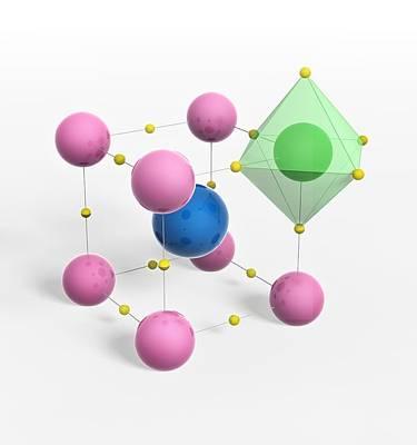 Perovskite Mineral, Molecular Model Poster