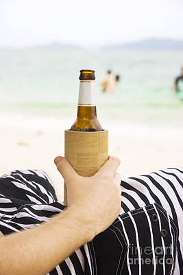 Person With Beer On Beach Poster