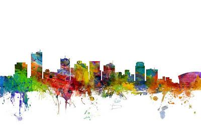 Phoenix Arizona Skyline Poster by Michael Tompsett