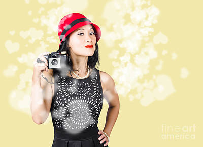 Photographer Taking Photos With Retro Film Camera Poster