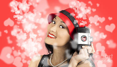 Photographer Woman With Camera. Photography Love Poster