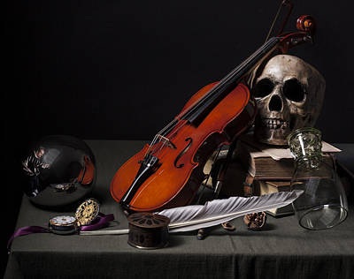 Poster featuring the photograph Pieter Claesz - Vanitas Still Life With Violin And Glass Ball - 1628 by Levin Rodriguez