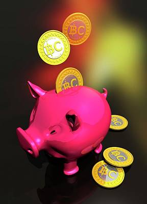 Piggy Bank And Bitcoins Poster