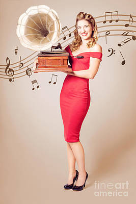 Pin-up At The Disco. Vintage Woman With Gramophone Poster by Jorgo Photography - Wall Art Gallery