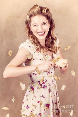 Pin-up Cooking Girl Peeling Potato. Quick Recipe Poster