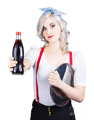 Pin-up Girl Holding Soft Drink Bottle Poster by Jorgo Photography - Wall Art Gallery