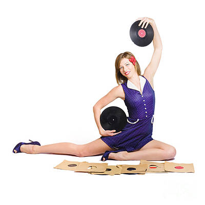 Pin-up Woman Balancing Sound With Record Music Poster by Jorgo Photography - Wall Art Gallery
