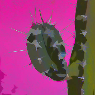 Pink And Green Cactus Collage Poster by Carol Leigh