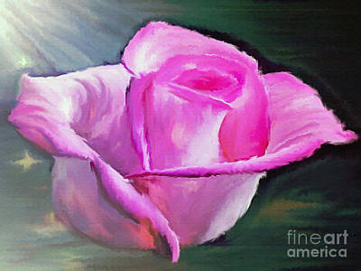 Pink Canvas Rose Poster