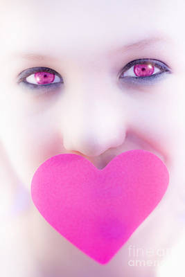 Pink Eyed Woman And Love Heart Poster by Jorgo Photography - Wall Art Gallery