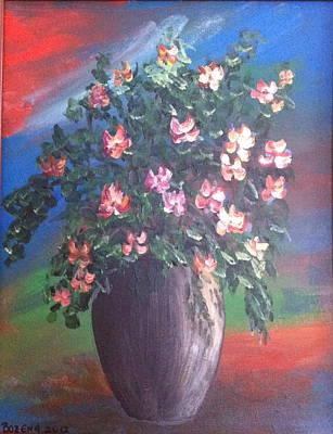Poster featuring the painting Pink Flowers by Bozena Zajaczkowska