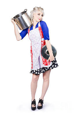 Pinup Housewife With A Cooking Pot Poster