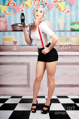 Pinup Woman Serving Drinks At Vintage Candy Bar Poster by Jorgo Photography - Wall Art Gallery