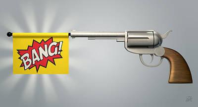Pistol Bang Flag Poster by Allan Swart