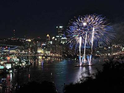 Pittsburgh Fireworks At Night Poster by Cityscape Photography