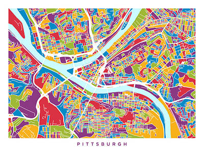 Pittsburgh Pennsylvania Street Map Poster