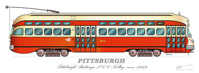 Pittsburgh Railways Pcc Trolley Circa 1949 Poster by Carlos F Peterson