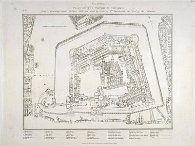 Plan Of The Tower Of London Poster by British Library