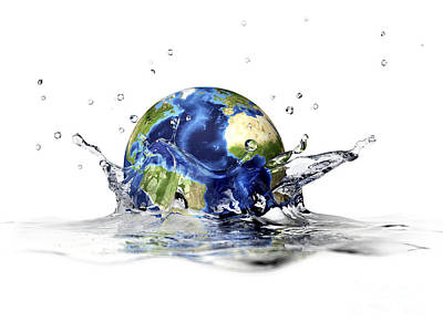 Planet Earth Falling Into Clear Water Poster