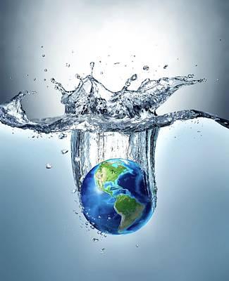Planet Earth Splashing Into Water Poster by Leonello Calvetti