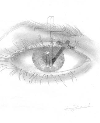 Poster featuring the drawing Plank In Eye by Terry Frederick
