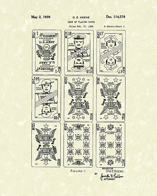 Playing Cards 1939 Patent Art Poster by Prior Art Design
