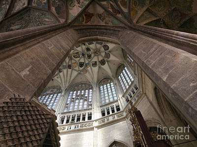 pointed vault of Saint Barbara church Poster by Michal Boubin