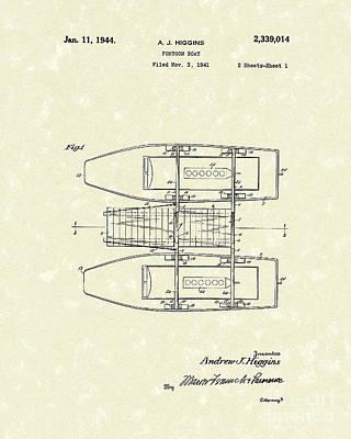 Pontoon Boat 1944 Patent Art Poster by Prior Art Design