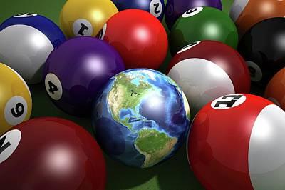 Pool Balls And The Globe Poster by Leonello Calvetti