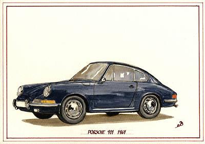 Porsche 911 Classic Poster by Juan  Bosco