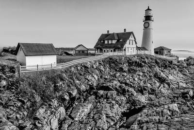 Portland Lighthouse Dawn Poster by Susan Candelario