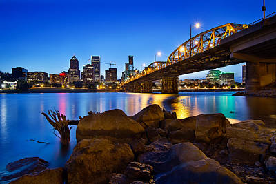 Poster featuring the photograph Portland Oregon Skyline At Blue Hour by JPLDesigns