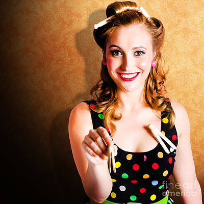 Portrait Of A Happy Pin Up Cleaning Woman Poster by Jorgo Photography - Wall Art Gallery