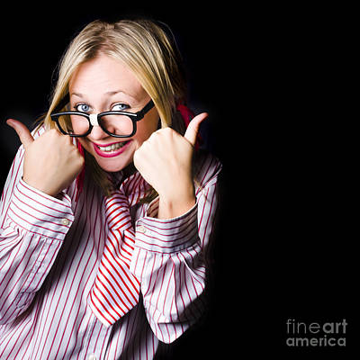 Portrait Of Businesswoman Gesturing Good To Go Poster by Jorgo Photography - Wall Art Gallery