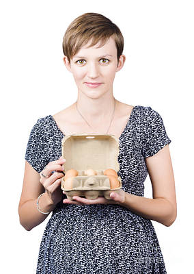Pregnant Young Woman Displaying A Box Of Eggs Poster