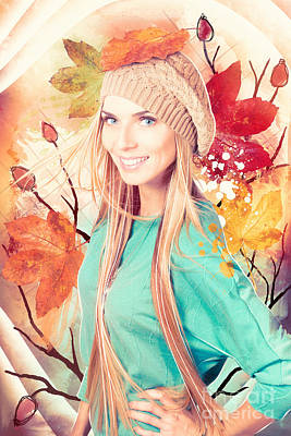 Pretty Blond Girl In Autumn Fashion Illustration Poster