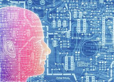 Printed Circuit Board And Wireframe Head Poster