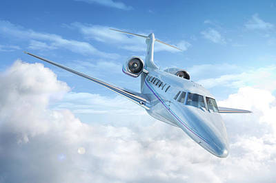 Private Jet In The Clouds Poster by Leonello Calvetti