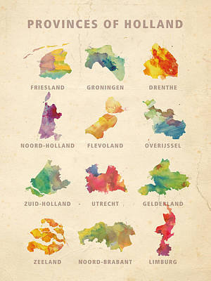 Provinces Of Holland Poster by Big City Artwork