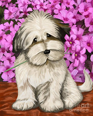 Poster featuring the painting Puppy In The Flowers by Tim Gilliland