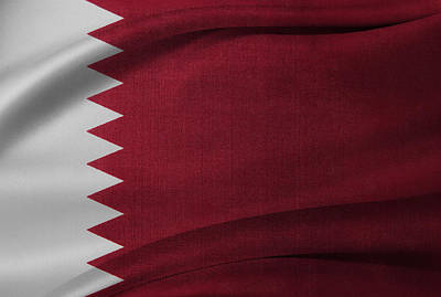 Qatar Flag Poster by Les Cunliffe