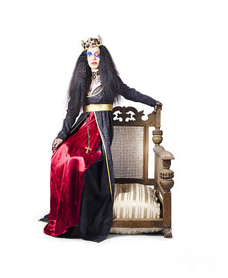 Queen Sitting On Throne Arm Poster
